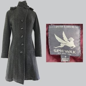 I SPIEWAK & SONS Gray Wool Hooded Military Coat